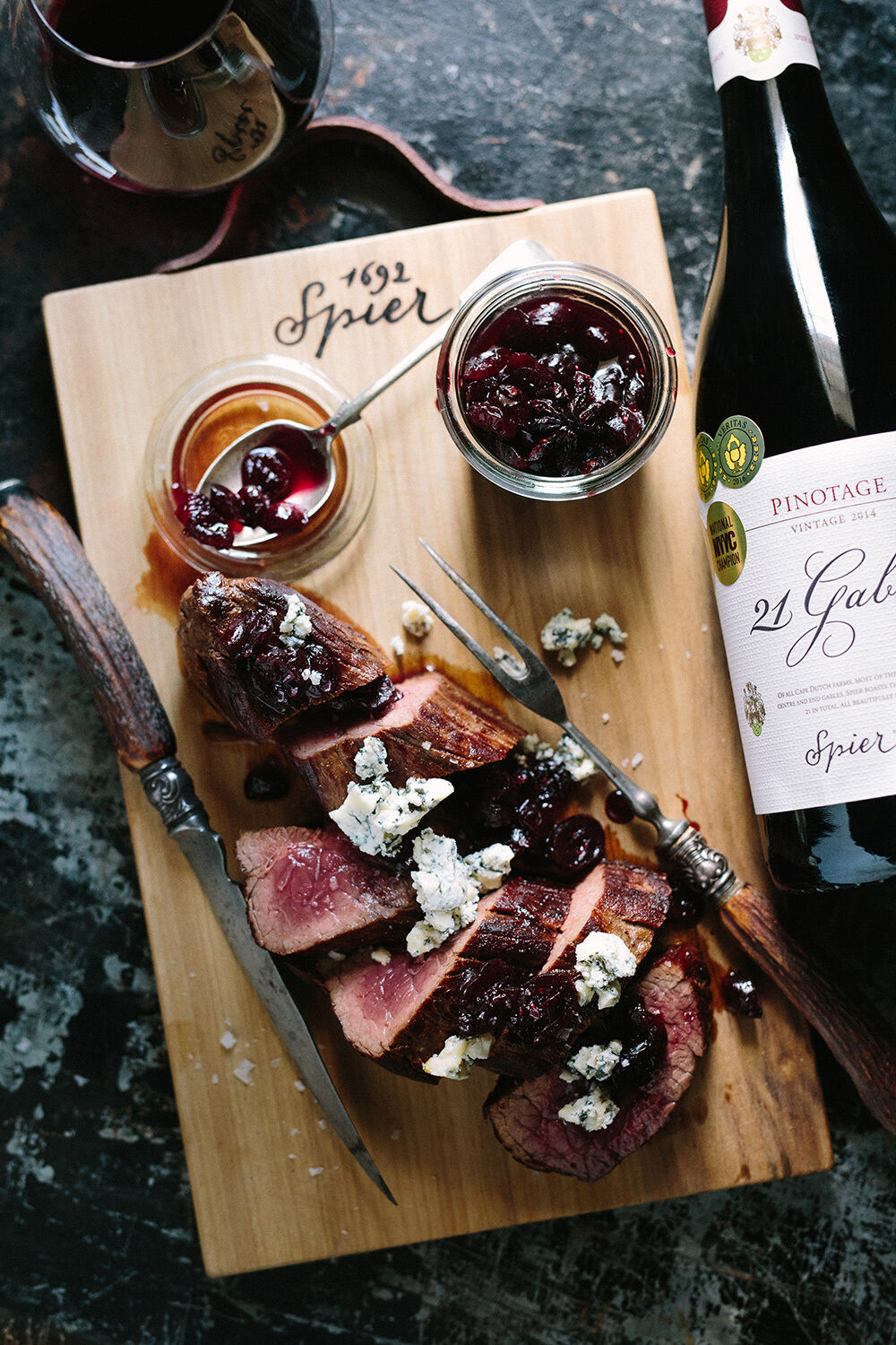 Ostrich steak with cranberry compote and blue cheese