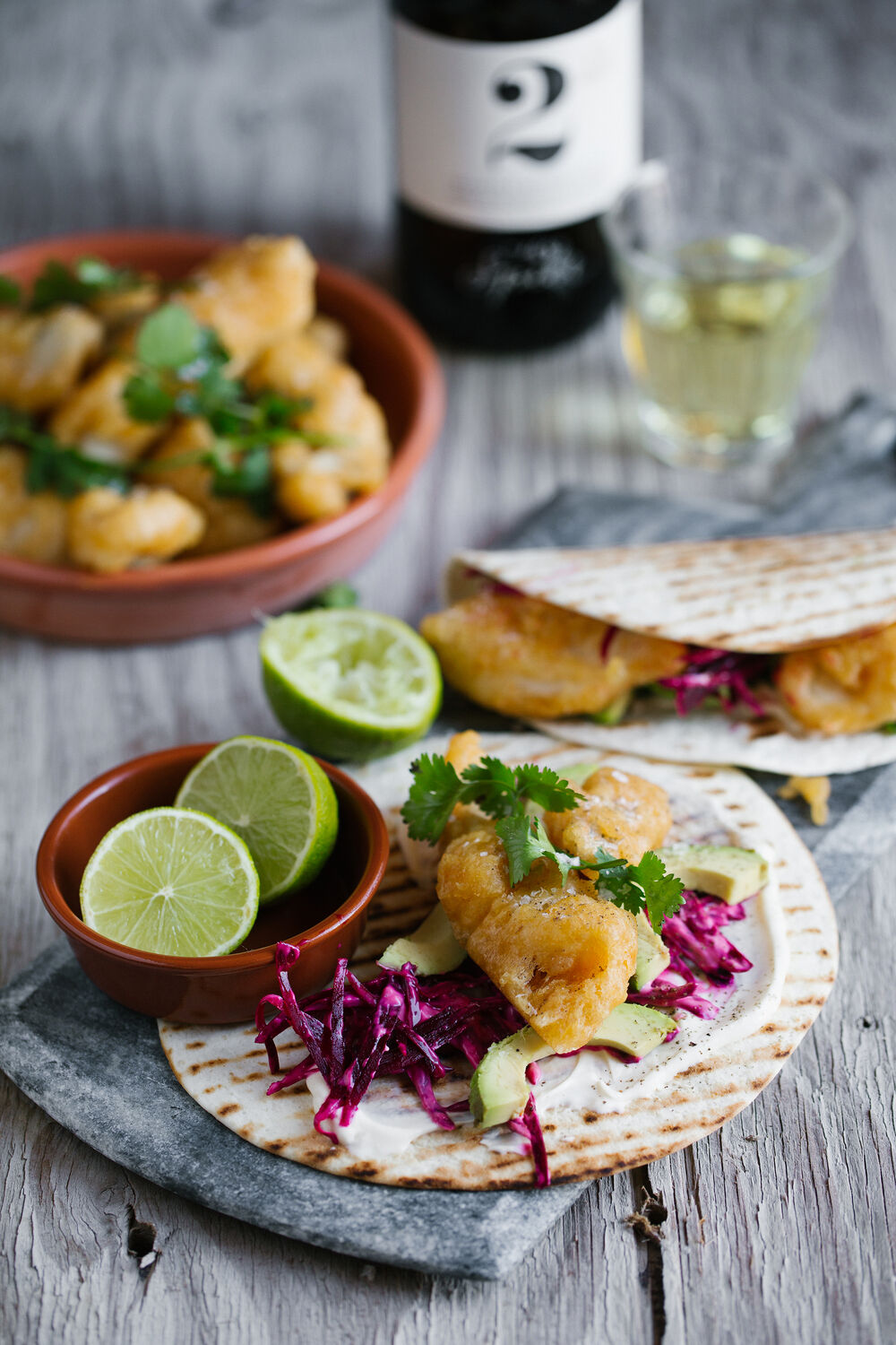 Fish tacos with beetroot slaw, coriander and sour cream mayo