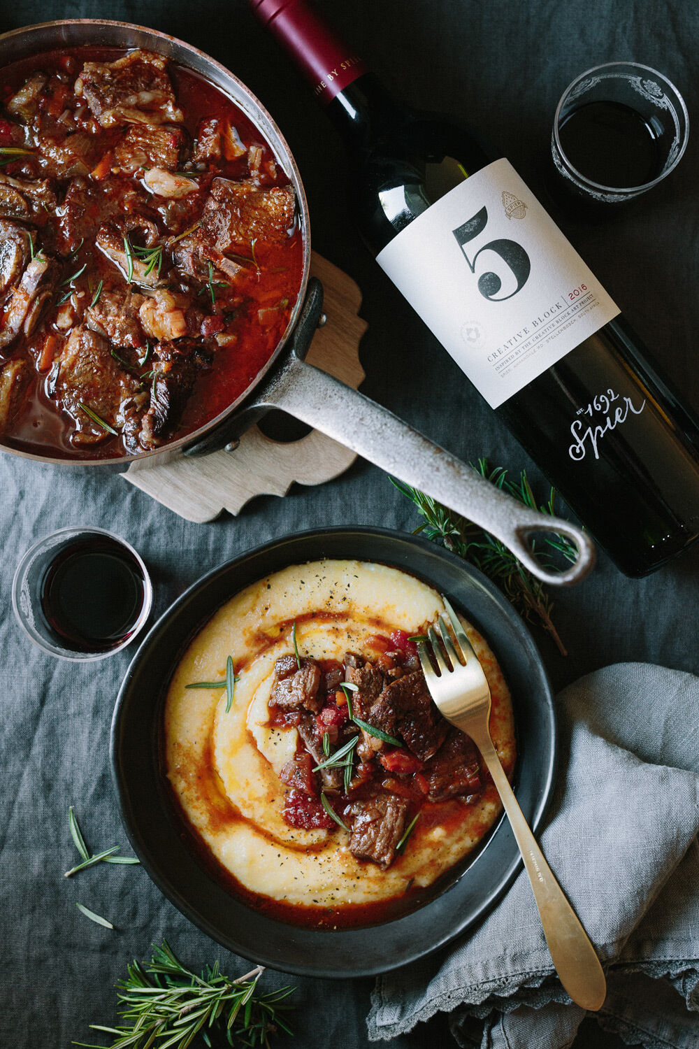 Slow roasted beef short rib casserole with creamy polenta