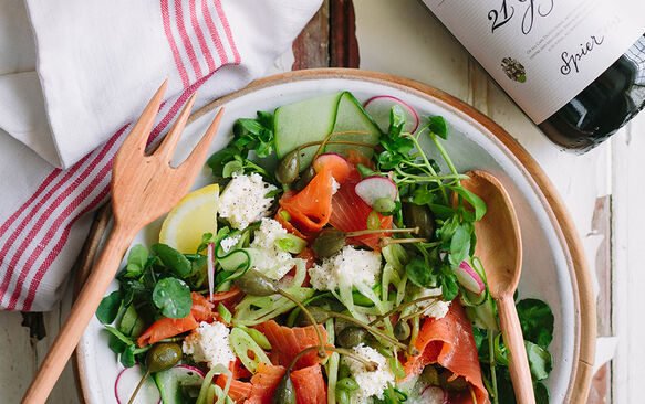 Smoked salmon salad with fennel, ricotta, capers and cucumber
