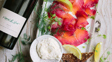 Beetroot-cured gravadlax with horseradish sauce
