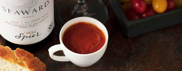 Spicy Roast Tomato Soup with Spier Seaward Shiraz