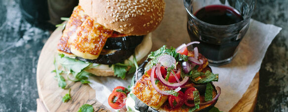 Grilled aubergine & halloumi burgers with mint & tomato salsa