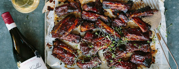 Sticky pork ribs with an Asian-style glaze