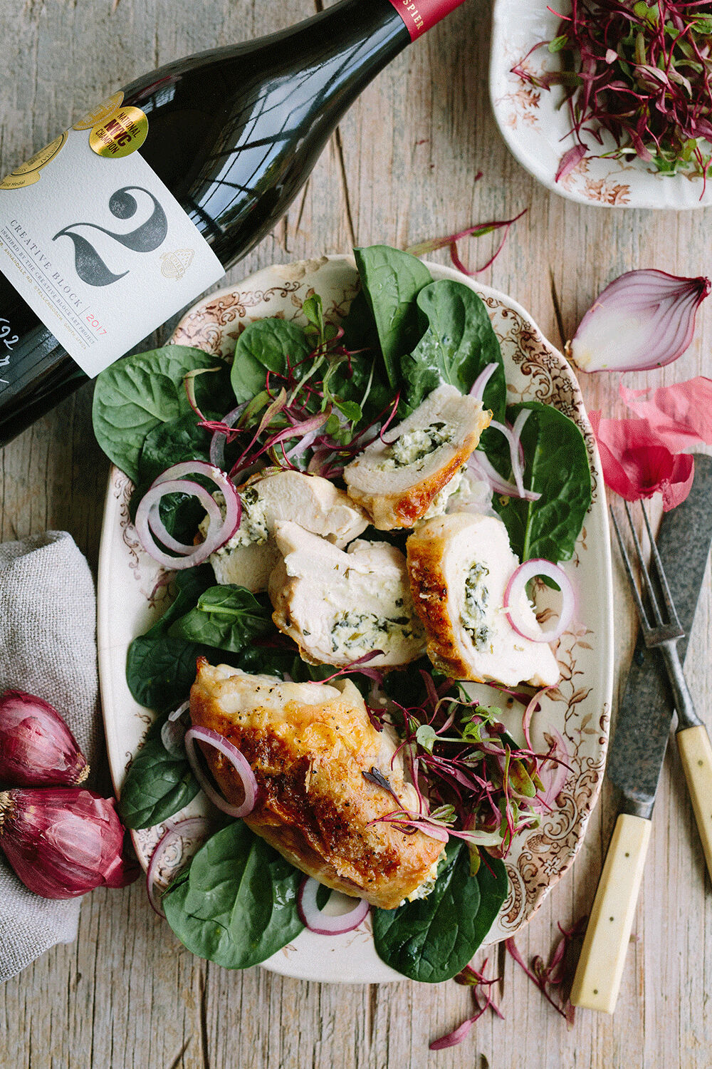 STUFFED CHICKEN BREAST WITH GOATS CHEESE, SPINACH & LEMON
