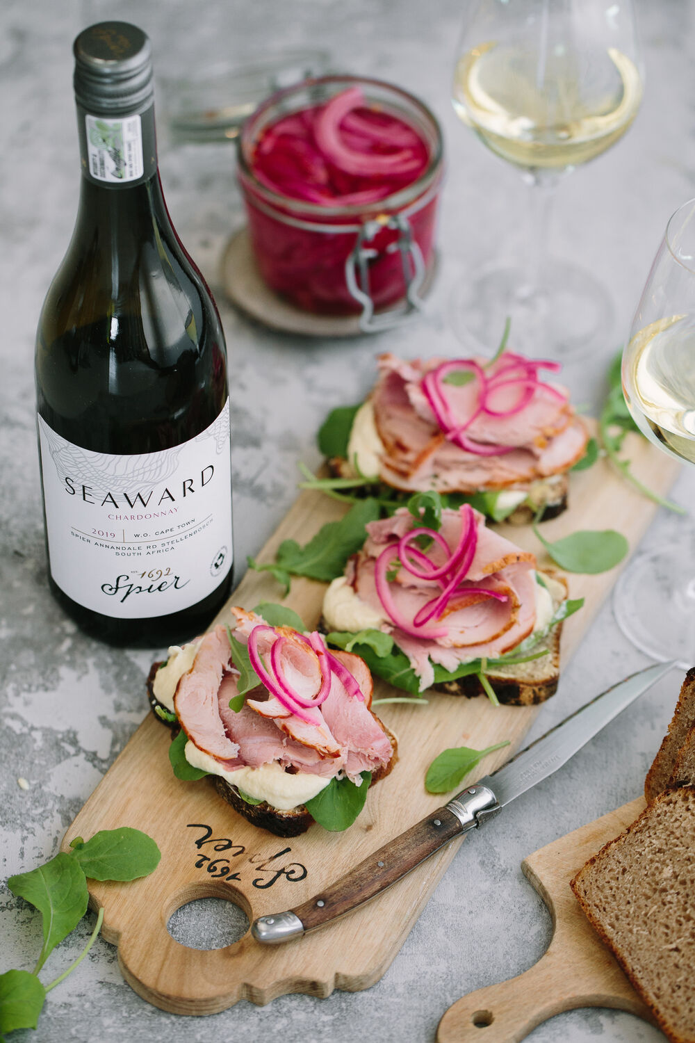 Spier Seaward Chardonnay with roasted pork sandwiches