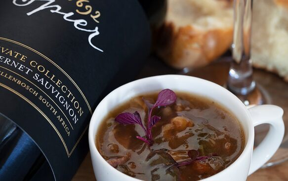Springbok shank and barley soup