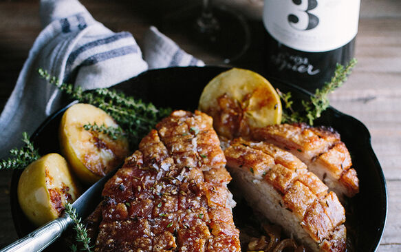 Roasted pork belly with baked apples