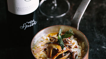 Exotic mushroom risotto with browned sage butter